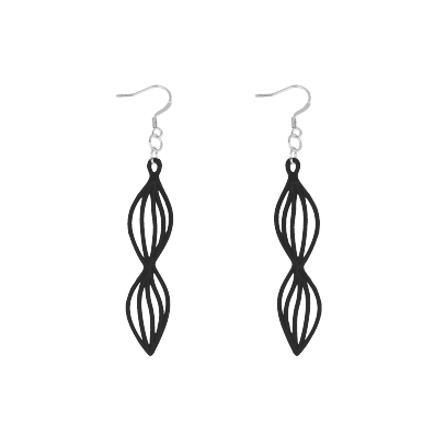 Waves Earrings Black