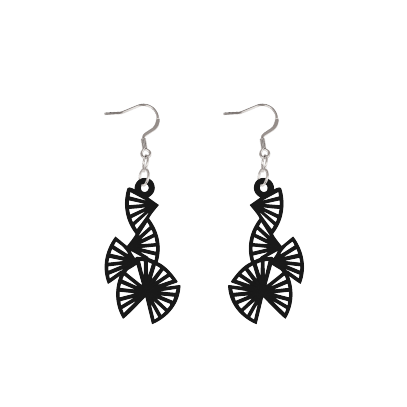 Origami Black Earrings