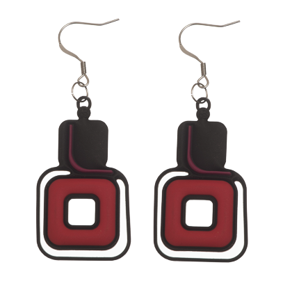 Pythagore Earrings Black, Purple & Red