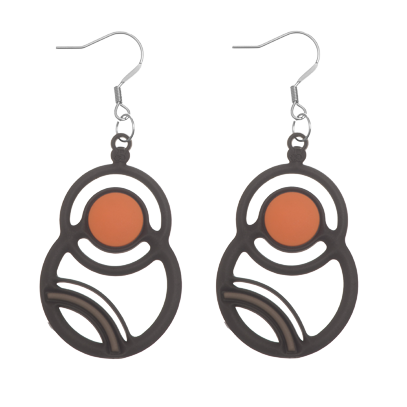Saturne Earrings Salmon & Grey