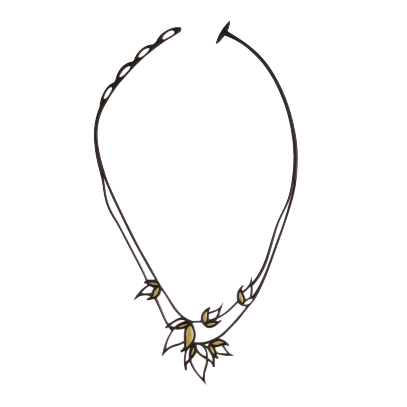 Collier Flame Noir & Or