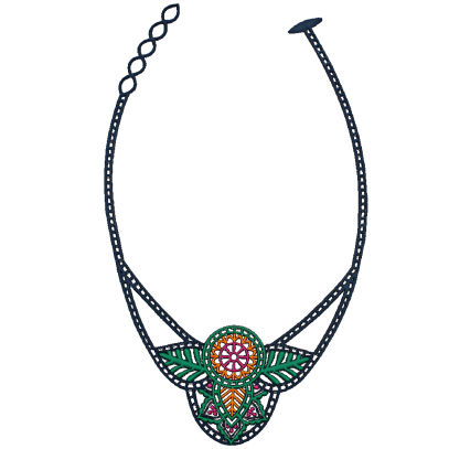 Collier Indian Multicolore Bleu