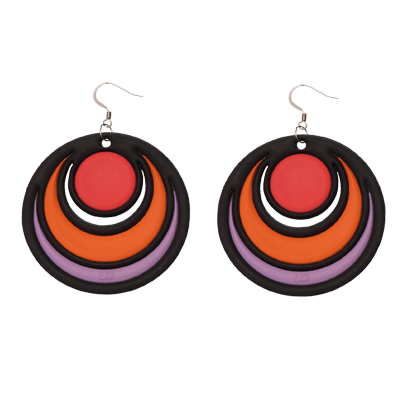 Boucles d'Oreilles Dancing Circles Rouge, Orange & Violet