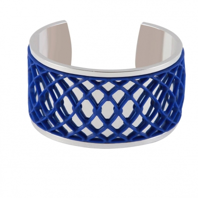 Silver galvanized cuff with Graphic blue Accent