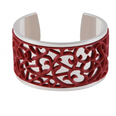 "Silver plated cuff with Burgundy ""Ornamental"" accent"