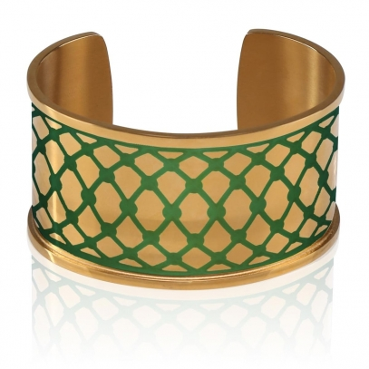 Gold plated cuff with Turquoise Graphic accent