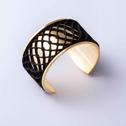 Gold plated cuff with Black Graphic accent