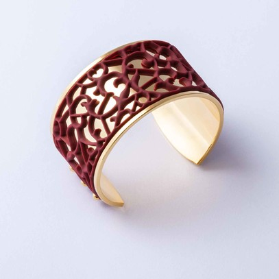 "Gold plated cuff with Burgundy ""Ornamental"" accent"