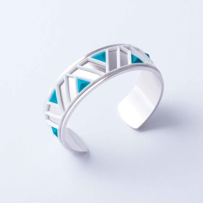 Silver cuff with Tetra white and blue accent